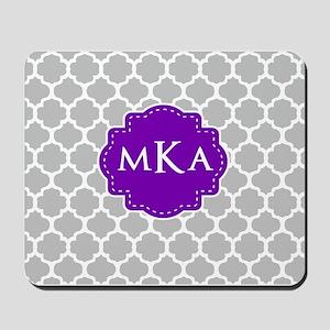 Gray Purple Quatrefoil Monogram Mousepad