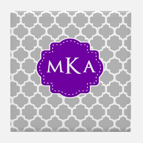 Gray Purple Quatrefoil Monogram Tile Coaster