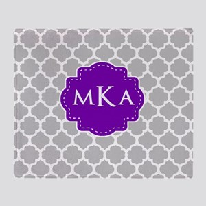 Gray Purple Quatrefoil Monogram Throw Blanket