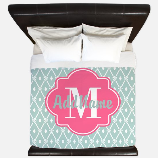 Pink Monogram and Mint Trellis King Duvet