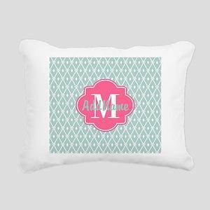 Pink Monogram and Mint T Rectangular Canvas Pillow