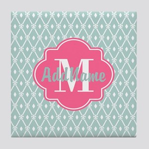 Pink Monogram and Mint Trellis Tile Coaster