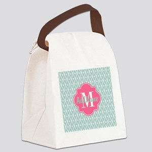Pink Monogram and Mint Trellis Canvas Lunch Bag