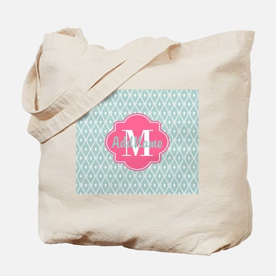 Pink Monogram and Mint Trellis Tote Bag