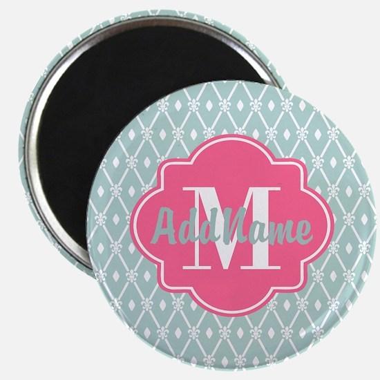 Pink Monogram and Mint Trellis Magnet