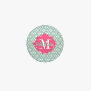 Pink Monogram and Mint Trellis Mini Button