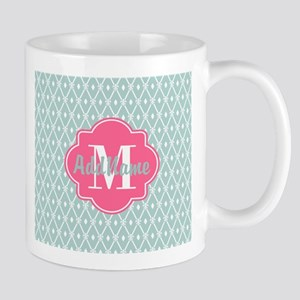 Pink Monogram and Mint Trellis Mug