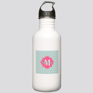 Pink Monogram and Mint Stainless Water Bottle 1.0L