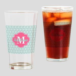 Pink Monogram and Mint Trellis Drinking Glass