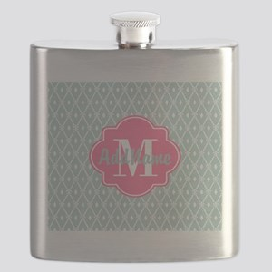 Pink Monogram and Mint Trellis Flask