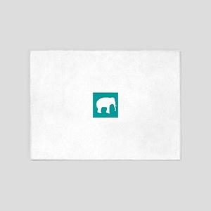 Turquoise Elephant 5'x7'Area Rug