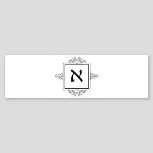 Aleph Hebrew monogram Bumper Sticker
