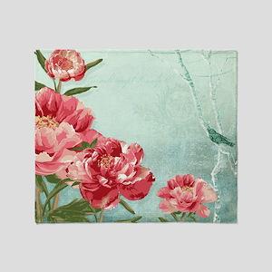Pretty Retro Flower Peony Chintz w B Throw Blanket