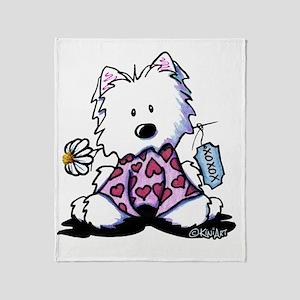 KiniArt Westie Flowers XOX Throw Blanket