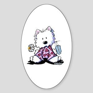 KiniArt Westie Flowers XOX Sticker (Oval)