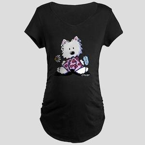 KiniArt Westie Flowers XOX Maternity Dark T-Shirt