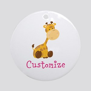 Custom Baby Giraffe Round Ornament