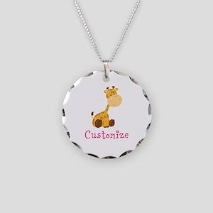 Custom Baby Giraffe Necklace Circle Charm