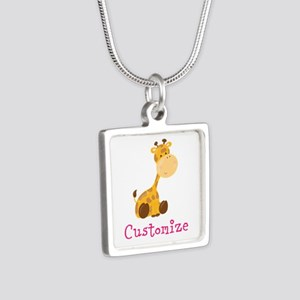 Custom Baby Giraffe Silver Square Necklace