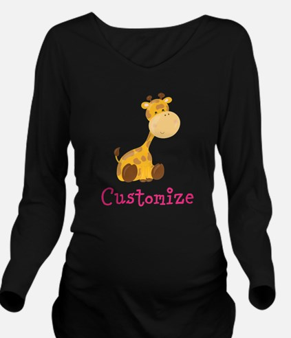 Custom Baby Giraffe Long Sleeve Maternity T-Shirt