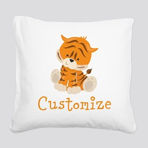 Custom Baby Tiger Square Canvas Pillow