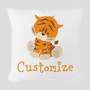 Custom Baby Tiger Woven Throw Pillow