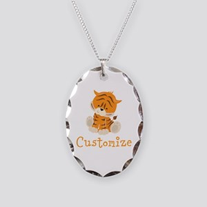Custom Baby Tiger Necklace Oval Charm