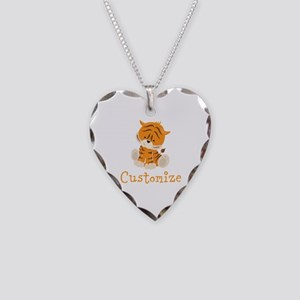 Custom Baby Tiger Necklace Heart Charm