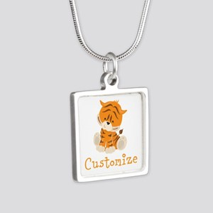 Custom Baby Tiger Silver Square Necklace