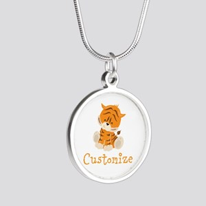 Custom Baby Tiger Silver Round Necklace