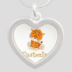 Custom Baby Tiger Silver Heart Necklace
