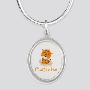 Custom Baby Tiger Silver Oval Necklace
