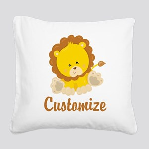 Custom Baby Lion Square Canvas Pillow