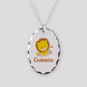 Custom Baby Lion Necklace Oval Charm
