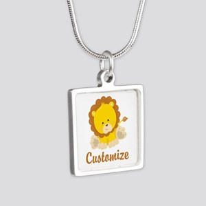 Custom Baby Lion Silver Square Necklace