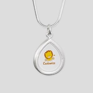 Custom Baby Lion Silver Teardrop Necklace