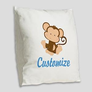 Custom Monkey Burlap Throw Pillow