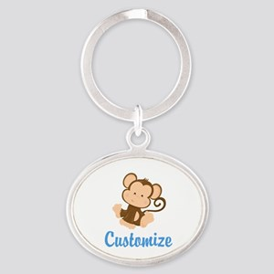 Custom Monkey Oval Keychain