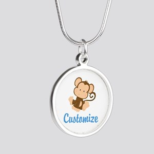 Custom Monkey Silver Round Necklace