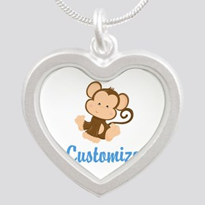 Custom Monkey Silver Heart Necklace