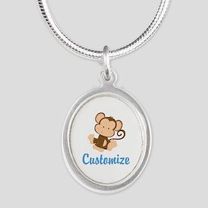 Custom Monkey Silver Oval Necklace