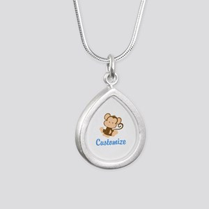 Custom Monkey Silver Teardrop Necklace