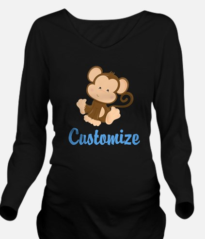 Custom Monkey Long Sleeve Maternity T-Shirt