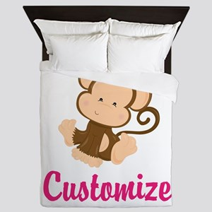 Personalize this adorable baby monkey Queen Duvet