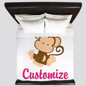 Personalize this adorable baby monkey w King Duvet