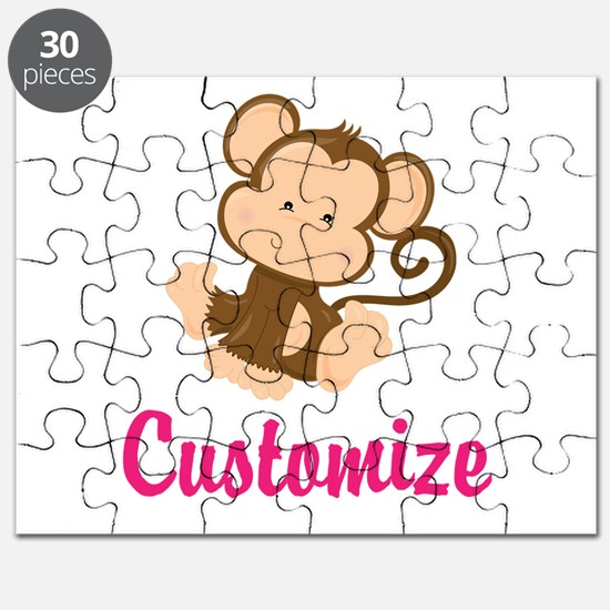 Personalize this adorable baby monkey w/you Puzzle