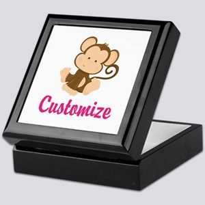 Personalize this adorable baby monkey Keepsake Box