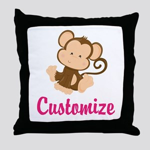 Personalize this adorable baby monkey Throw Pillow