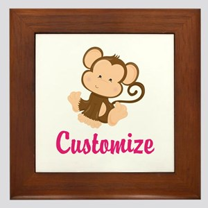 Personalize this adorable baby monkey Framed Tile