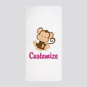 Personalize this adorable baby monkey Beach Towel
